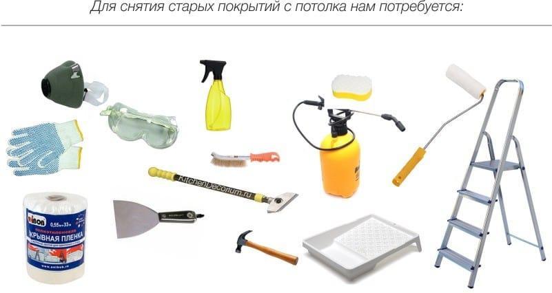 инструмент для ремонта потолка