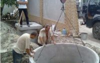установка бетонных колец септика