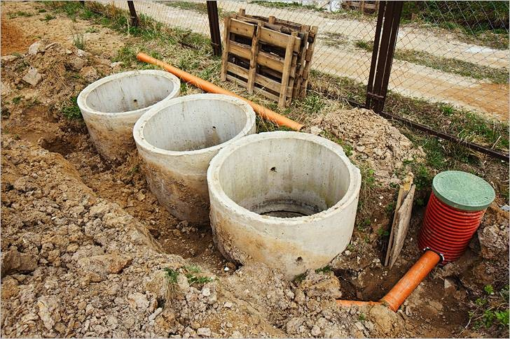 монтаж бетонных колец септика