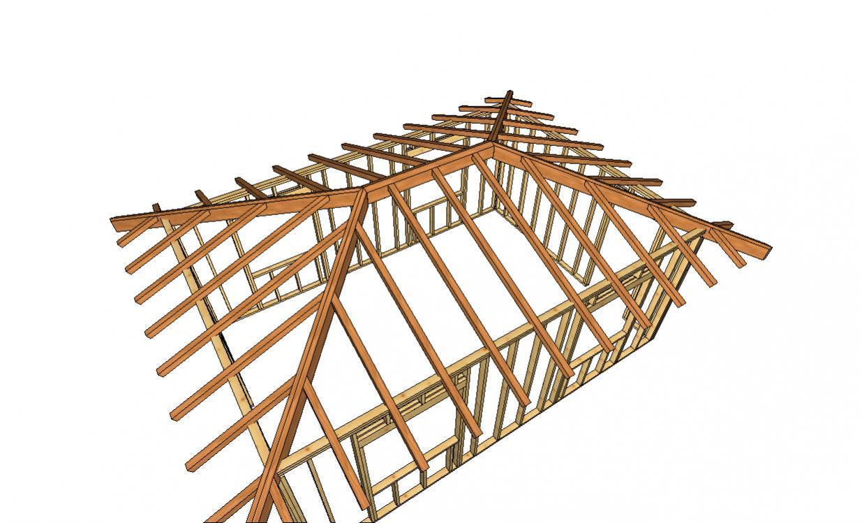 Деревянный каркас четырехскатной крыши