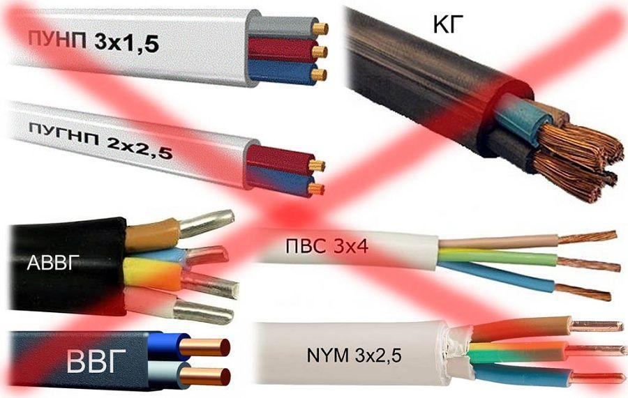 Типы электрокабелей запрещенные для подземной прокладки