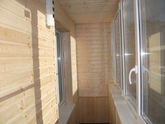 Отделка деревом балкон внутри