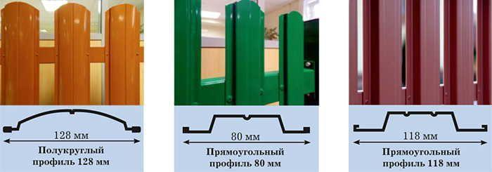 Виды конфигураций металлического штакетника