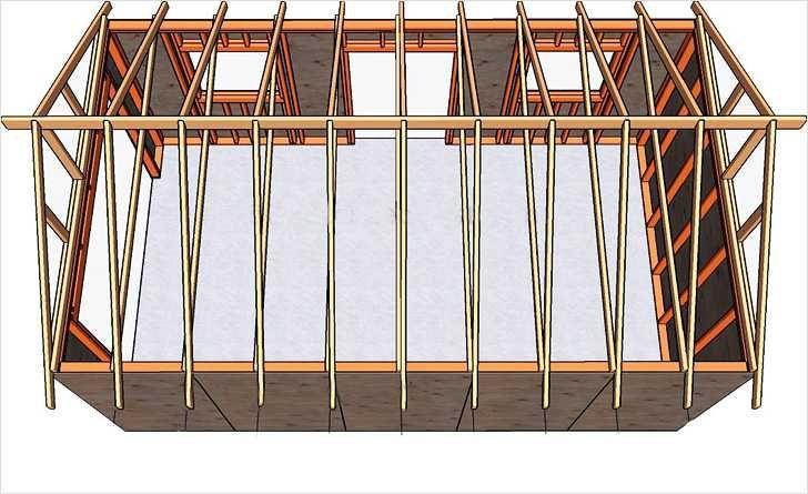 Двускатная конструкция крыши для гаража чертеж
