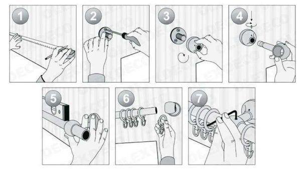 Инструкция в картинках как повесить карниз