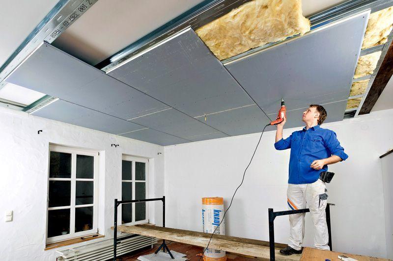 монтаж гвл на потолок