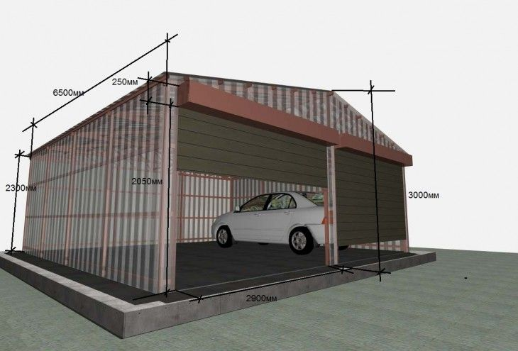 размеры чертеж гаража