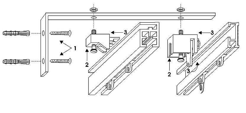 Схематичный рисунок конструкции крепления карниза для штор