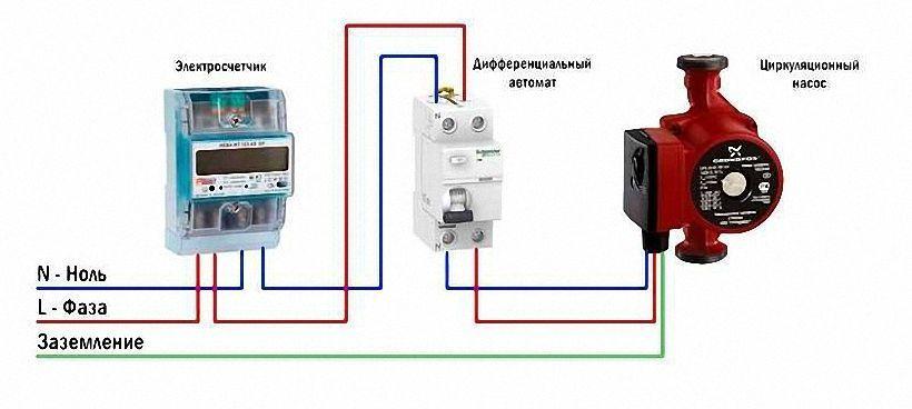 Подключения насоса к электропитанию