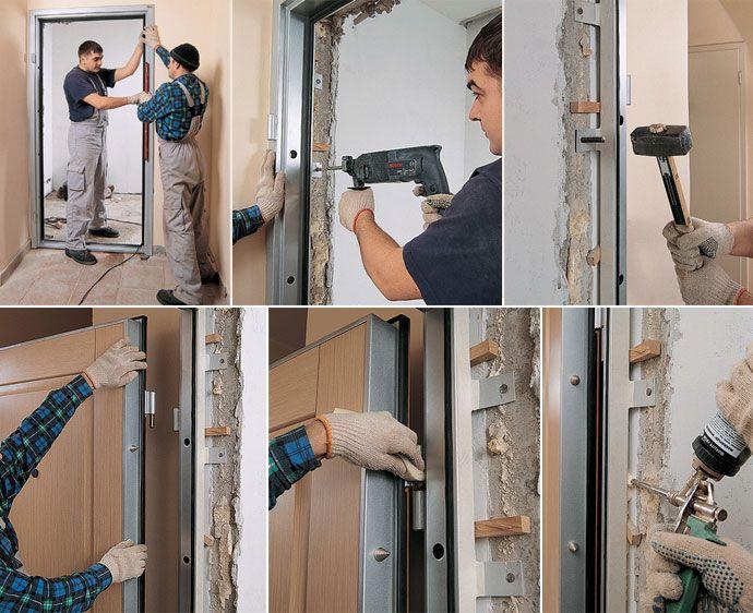 Монтаж металлических дверей пошагово