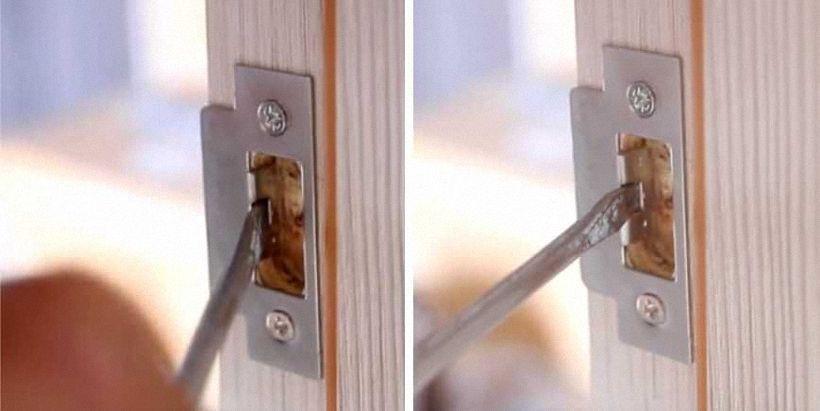 Врезка ответной части для дверного замка