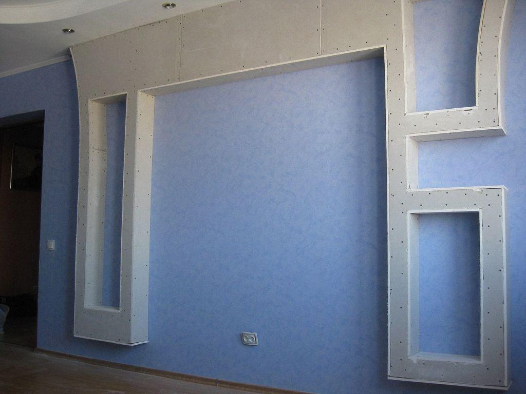 Гипсокартонные перегородки-конструкции на стене