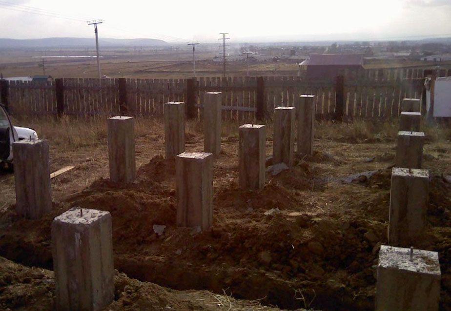 Столбчатый фундамент для дома из газобетонных блоков